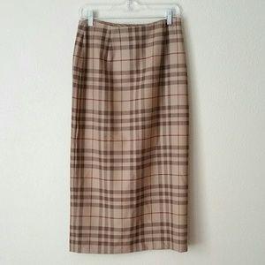 Jones New York Brown Red Plaid Wool Wrap Skirt